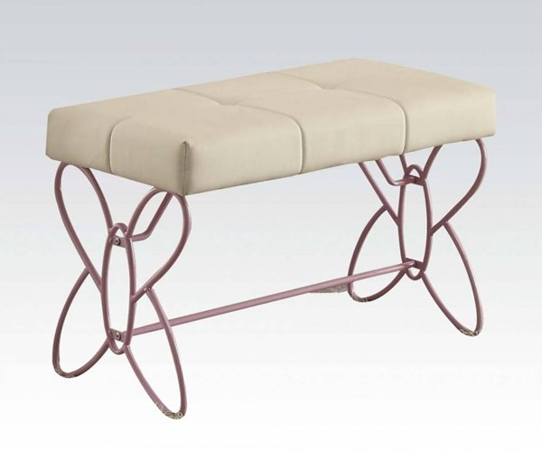 Priya II White Light Purple MDF Metal PU Bench ACM-30542