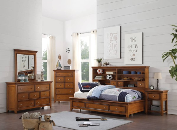 Lacey Modern Cherry Oak White Pine Wood 2pc Bedroom Sets ACM-3055-BR-S