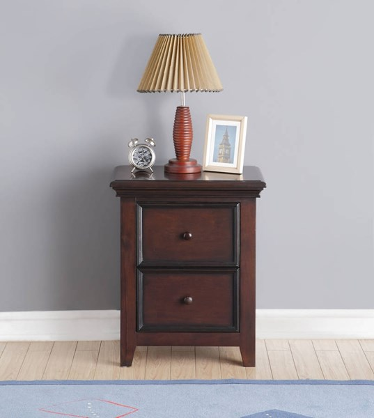 Lacey Espresso Pine Wood 2 Drawers Nightstand ACM-30579