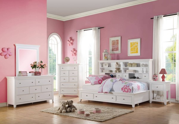 Lacey White Pine Wood 4pc Bedroom Set w/Full Storage Daybed ACM-3055-BR-S4