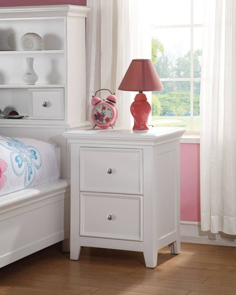 Lacey Modern White Pine Wood 2 Drawers Nightstand ACM-30599