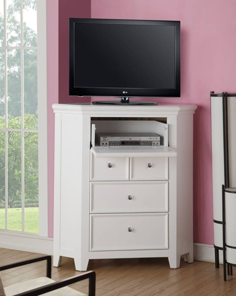 Lacey Modern White Pine Wood Corner TV Console ACM-30603