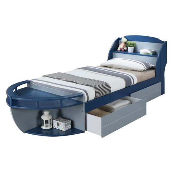 Acme Furniture Neptune II Navy Gray Twin Drawer Bed ACM-30620T-ST-BED