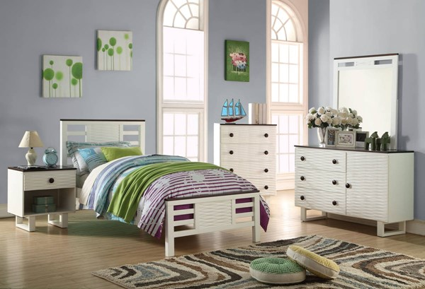 Florrie Transitional White Espresso 2pc Bedroom Set W/Full Bed ACM-3063-KBR-S2