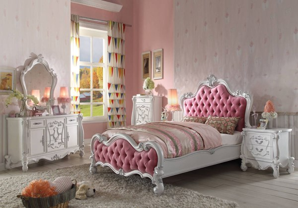 Versailles Pink Fabric Antique White Wood MDF 2pc Bedroom Sets ACM-30645-BR-S
