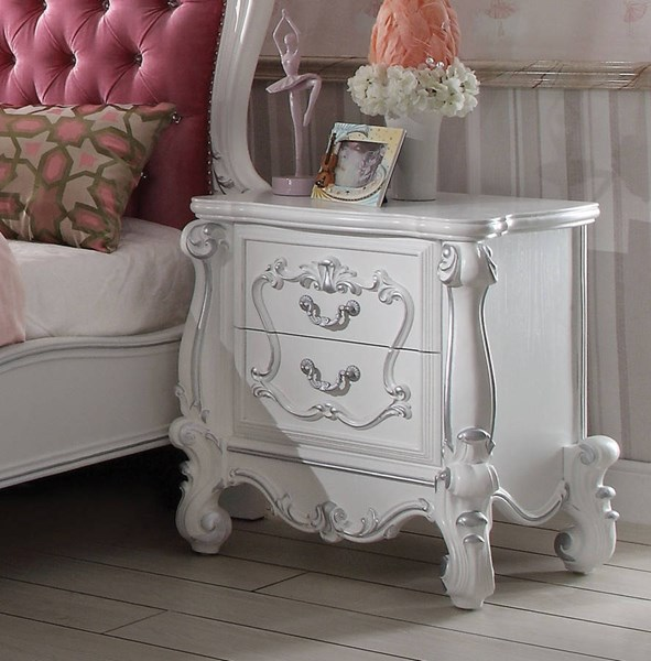Versailles Traditional Antique White Wood MDF Nightstand ACM-30653