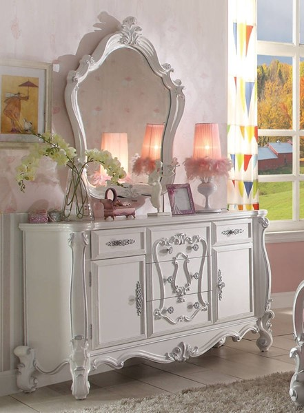 Versailles Traditional Antique White Wood Glass Dresser And Mirror ACM-306-DRMR