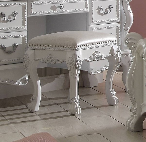 Dresden Traditional Antique White Solid Wood MDF Vanity Stool ACM-30671