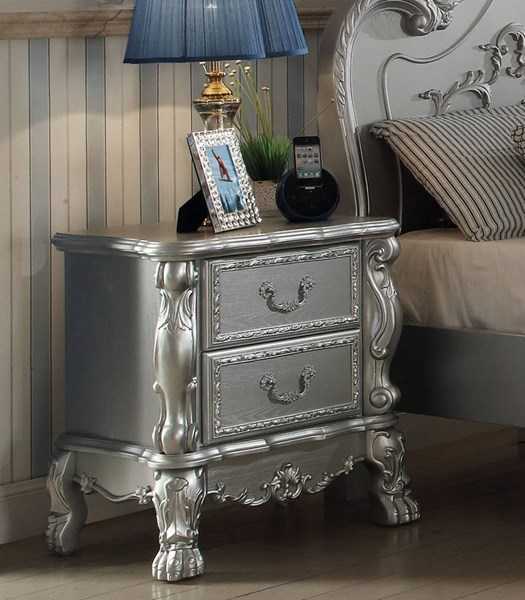 Dresden Traditional Silver Solid Wood MDF Nightstand ACM-30683