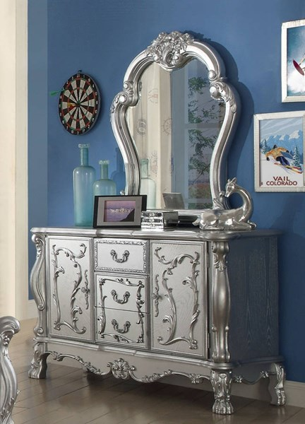 Dresden Traditional Silver Solid Wood Glass Dresser And Mirror ACM-3068-DRMR