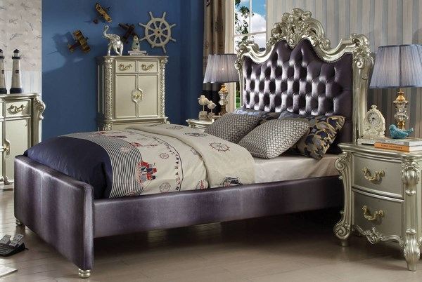 Vendome Traditional Champagne Wood MDF Gray Fabric Queen Bed ACM-30690Q