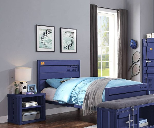 Acme Furniture Cargo Blue Metal 2pc Bedroom Set with Twin Bed ACM-359-BLU-KBR-S1