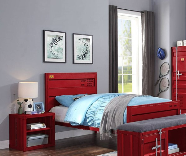 Acme Furniture Cargo Red Metal 2pc Bedroom Set with Full Bed ACM-359-RD-KBR-S2