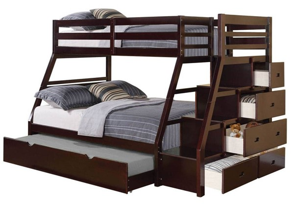 Acme Furniture Jason Espresso Twin Over Full Bunk Beds with Storage Ladder and Trundle ACM-370-BNK-BED-VAR