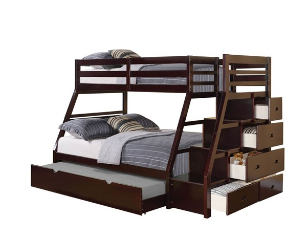 Acme Furniture Jason Espresso Twin Over Full Trundle Bunk Bed ACM-37015