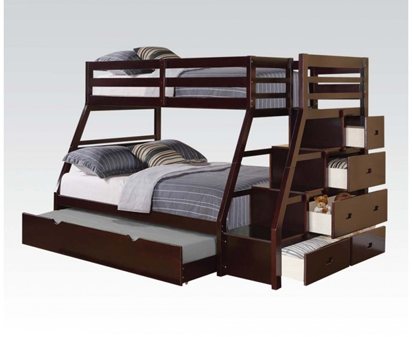 Jason Espresso Wood Twin/Full Bunk Bed W/Storage Ladder & Trundle ACM-37015
