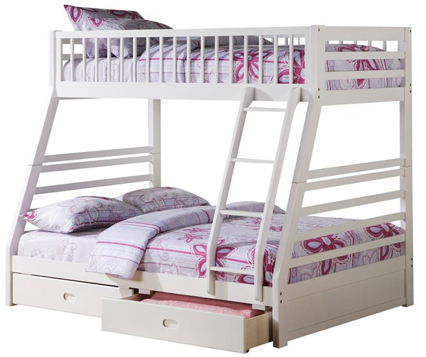 Acme Furniture Jason White Twin Over Full Bunk Bed with 2 Drawers ACM-37040