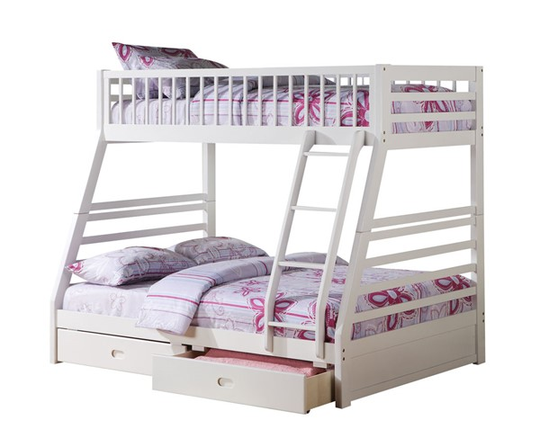 Acme Furniture Jason White Wood Twin over Full Drawers Bunk Bed ACM-37040