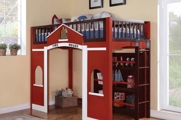Fola Classic Red White Espresso Wood Loft Bed & Bookcase ACM-37085