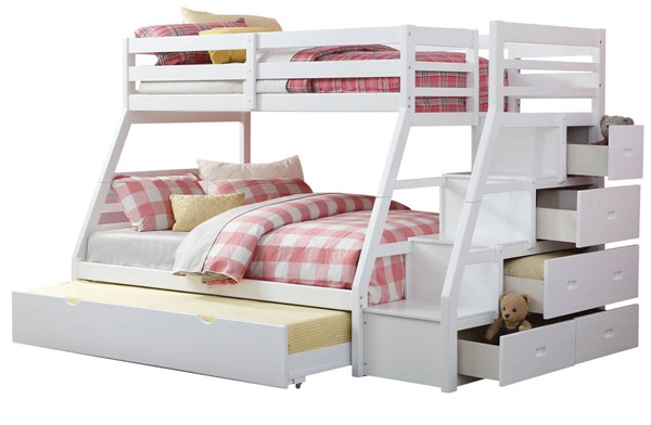 Acme Furniture Jason White Twin Over Full Bunk Bed with Storage Ladder and Trundle ACM-37105