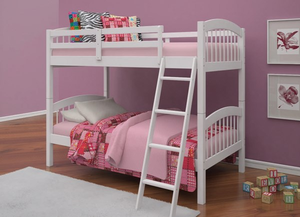 Manville White Wood Twin/Twin Ladder Bunk Bed ACM-37115WH