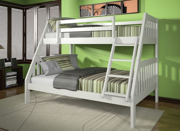 Ryo Youth White Wood Twin/Full Bunk Bed ACM-37120WH