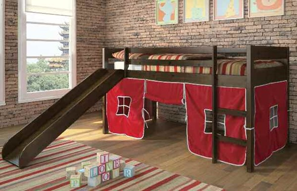 Tiona Red Espresso Twin Loft Bed W/Red Tent ACM-37185-R