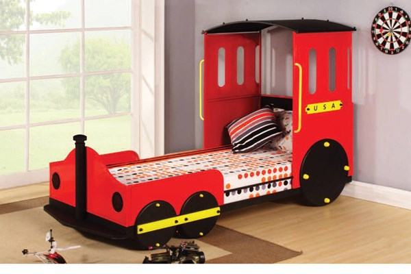 Tobi Youth Red Black Metal Wood Train Twin Bed ACM-37195AT