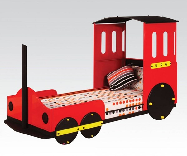 Tobi Youth Red Metal Wood Train Twin Bed ACM-37195T