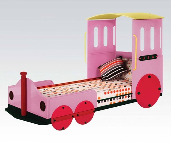 Tobi Youth Pink Metal Wood Train Twin Bed ACM-37200AT