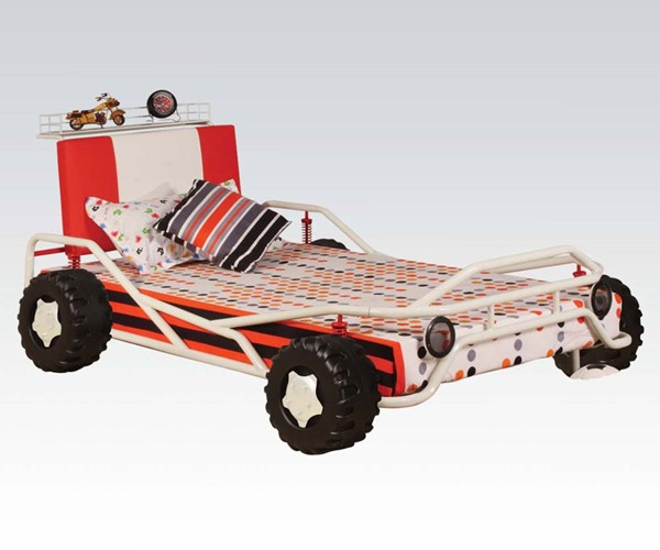 Carson Youth White Red Metal Wood PU Twin Car Bed ACM-37205AT