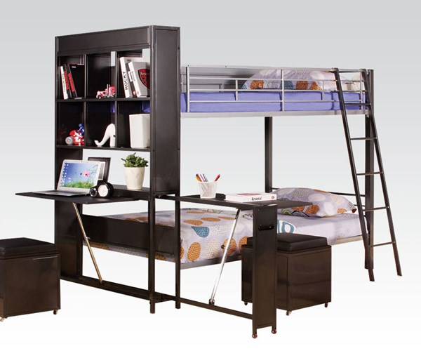 Risley Contemporary Silver Black Metal Wood Twin/Twin Bunk Bed w/Desk ACM-37210