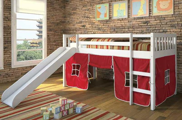 Wasila White Red Wood Fabric Twin Loft Bed W/Red Tent ACM-37215-R