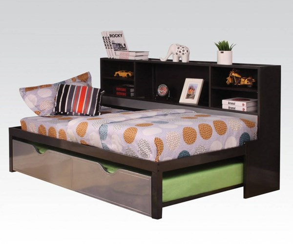 Renell Youth Black Silver Metal Wood PU Twin Bed w/Bookcase & Trundle ACM-37225T
