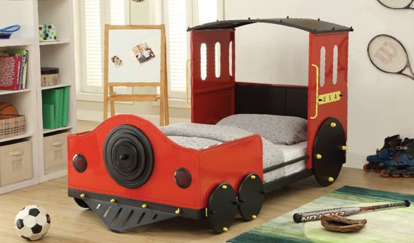 Tobi Youth Red Black Metal Wood Twin Beds ACM-37235AT-VAR