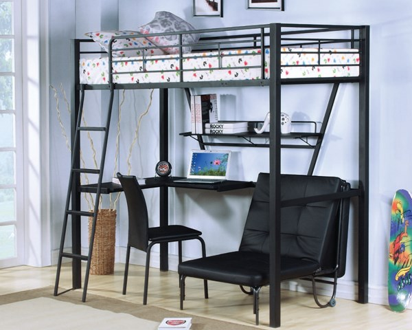 Senon Black PU Metal Workstation Loft Bed ACM-37275-LOFT