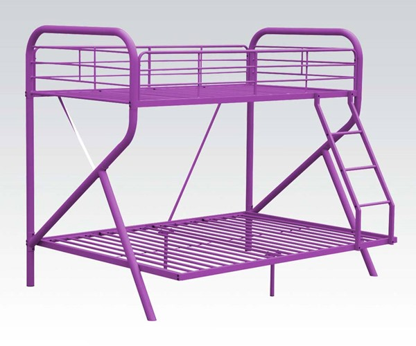 Tracy Purple Metal Twin/Full Bunk Bed w/Ladder ACM-37315