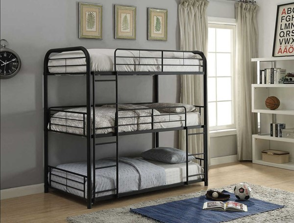 Acme Furniture Cairo Sandy Black Triple Full Bunk Bed