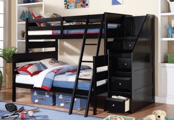 Alvis Youth Black Twin/Full Bunk Bed w/Storage Ladder ACM-37365