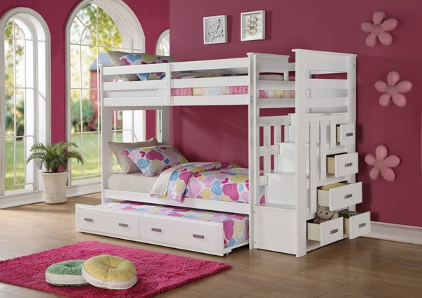 Acme Furniture Allentown White Twin over Twin Storage Ladder and Trundle Bunk Beds ACM-37370-VAR