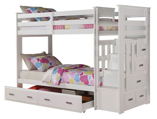 Acme Furniture Allentown White Storage Ladder and Trundle Twin Over Twin Bunk Bed ACM-37370