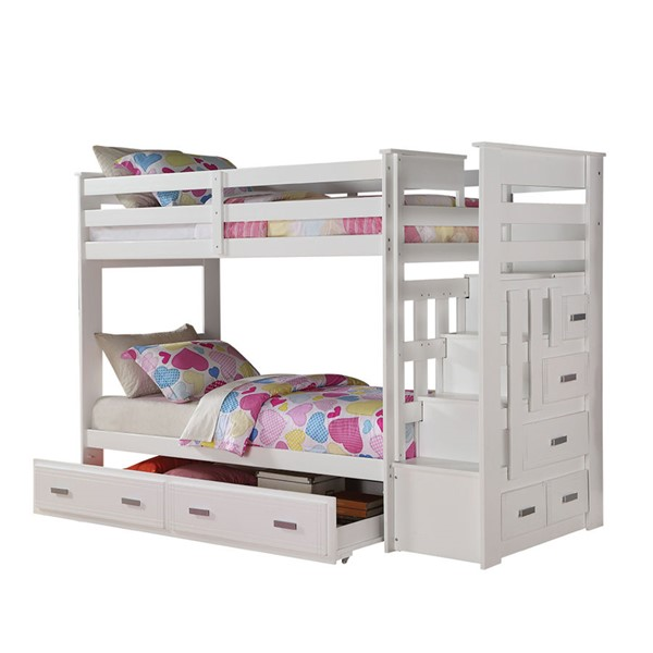 Acme Furniture Allentown White Twin over Twin Storage Ladder and Trundle Bunk Bed ACM-37370