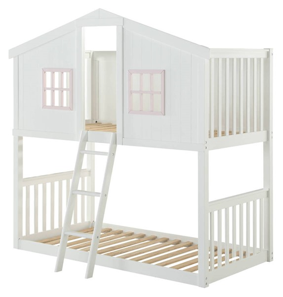 Acme Furniture Rohan Cottage White Pink Twin over Twin Bunk Bed ACM-37410