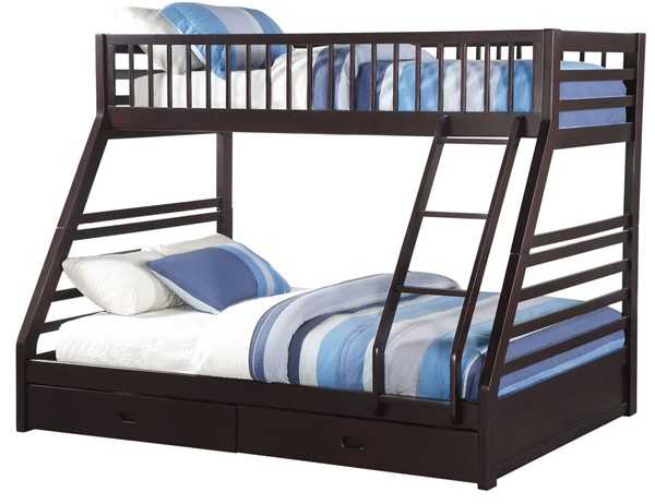Acme Furniture Jason Espresso Twin XL Over Queen Bunk Bed with Drawers ACM-37425