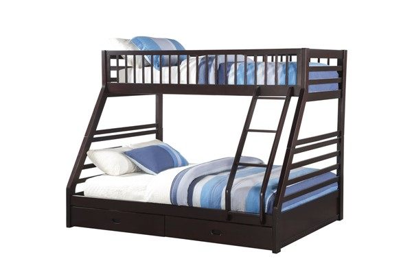 Acme Furniture Jason Espresso Wood Twin XL over Queen Drawers Bunk Bed ACM-37425