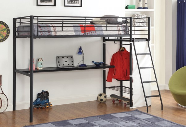 Hazra Brown Metal Wood Loft Bed w/Ladder ACM-37515
