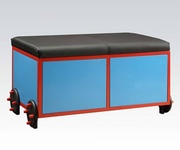 Tobi Blue Red Black Metal Wood PU Bench w/Storage ACM-37570