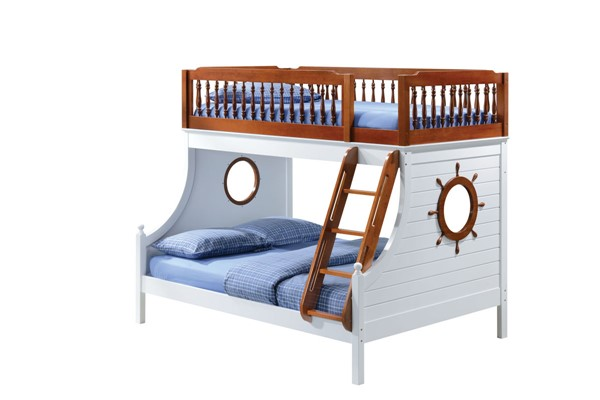 Acme Furniture Farah White Oak Wood Veneer Twin Full Bunk Bed ACM-37600