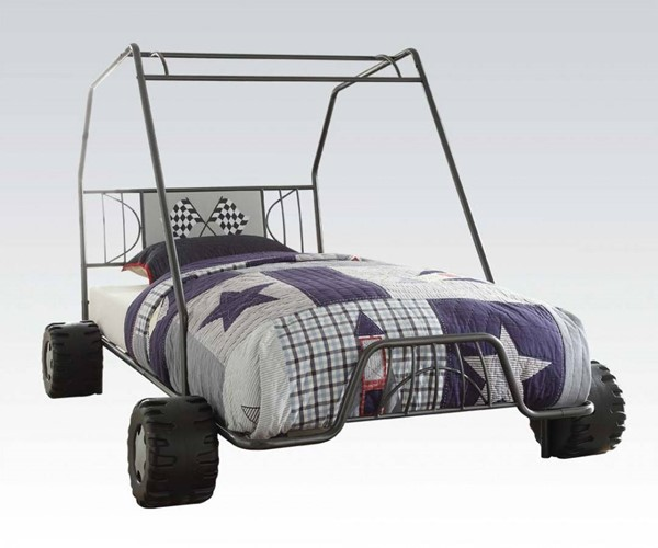 Xander Metal Racing Car Twin Bed W Gunmetal Color Amp Wheels