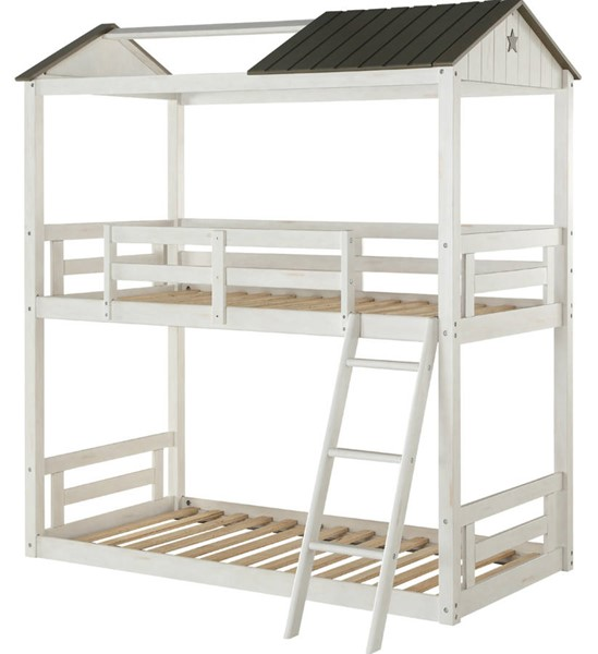 Acme Furniture Nadine Cottage White Gray Twin Over Twin Bunk Bed ACM-37665